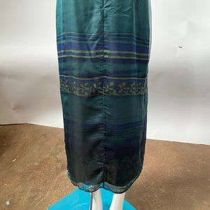 Teal Silk Skirt - Lined Size 12